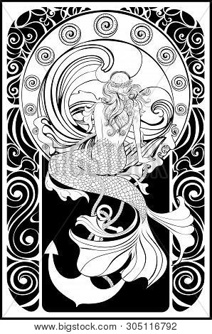 Fantasy Mermaid Sitting, Vintage Art Nouveau Design Illustration.