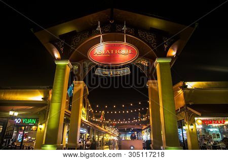 Bangkok, Thailand, January 10, 2019 - Asiatique By Night, The Riverfront  Factory District In Bangko
