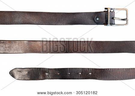 Old Black Leather Belt On White Background