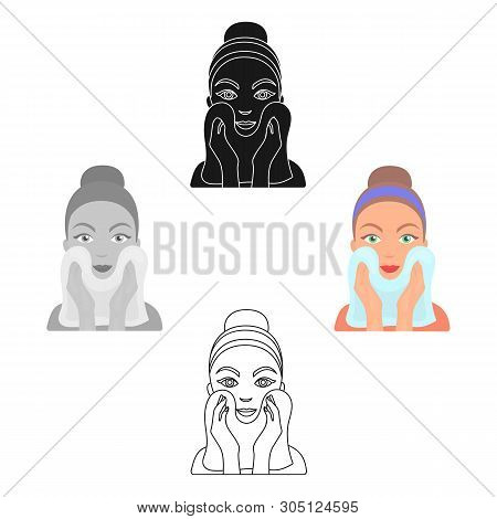 Cleaning Of Face Skin Icon In Cartoon, Black Style Isolated On White Background. Skin Care Symbol St