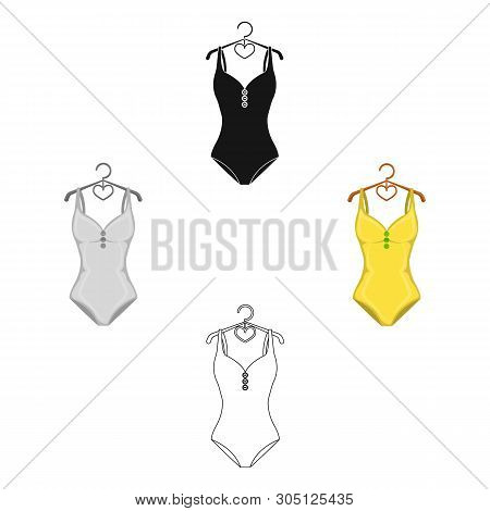 Monotone Yellow Swimsuit For Girls. Bathing Clothes In The Pool.swimcuits Single Icon In Cartoon, Bl