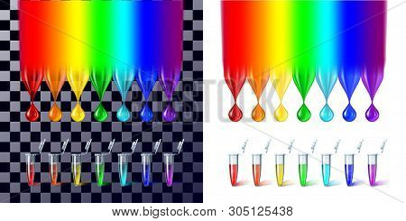 The Rainbow Color Drops And Test Tubes