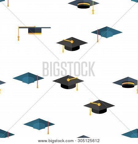 Mortarboard, Academic Cap Vector Color Icons Seamless Pattern. Mortar Board, Education Linear Symbol