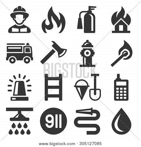 Firefighter And Fire Department Icons Set. Vector