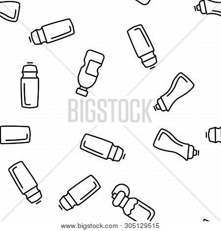 Sport Bottle, Fitness Accessory Vector Thin Line Icons Seamless Pattern. Sport Bottle, Plastic, Meta