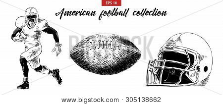 Vector Engraved Style Illustration For Posters, Decoration. Hand Drawn Sketch Of American Football P