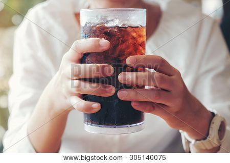 Woman Hand Giving Glass ,soft Drinks With Ice, Sweethart Or Buddy