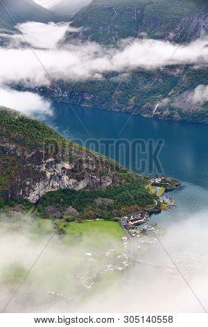 Aurlandsfjord - Fiord Town Landscape In Sogn Og Fjordane Region Of Norway