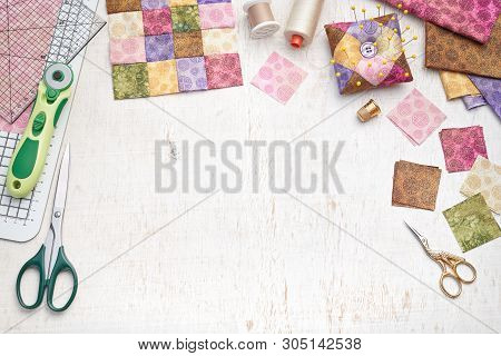 Bright Square Pieces Of Fabric, Patchwork Tools, Sewing Equipment, Traditional Quilting, Space For T
