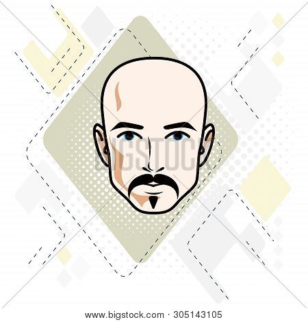 Vector Illustration Of Handsome Hairless Male Face With Mustache And Beard, Positive Face Features,