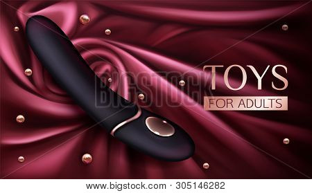 Vibrator, Sex Toy For Adults, Dildo For Woman Pleasure And Erotic Games On Red Silk Draped Fabric Ba
