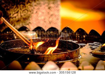 Incense Stick Burning,thai Buddhists Use Incense To Worship Buddha, Scenery Background Of The Incens