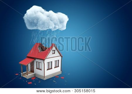 3d Rendering Of Little Detached House With Big Hole In Roof, Standing Under Rainy Cloud, On Blue Bac