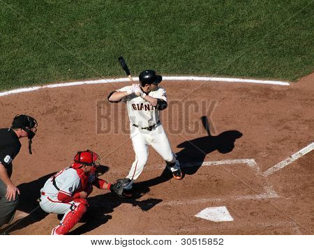 Giants Freddy Sanchez Stands In The Batters Box Waiting For Pitch