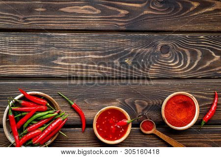 Fresh Red Chilli Pepper And Dry Powder As Food Ingredient On Wooden Table Background Top View Mockup