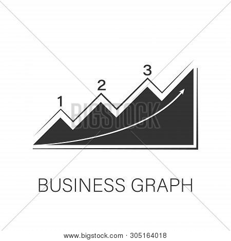 Icon Business Graphics On A White Background. Black Illustration Of Business Graphics. Elements For