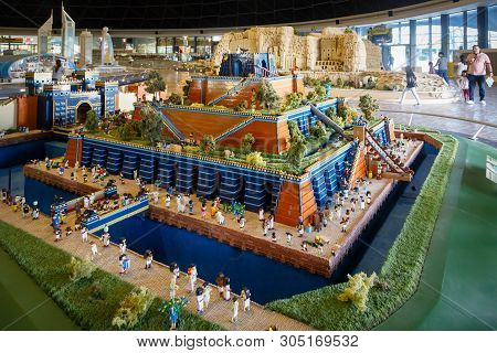 Dubai, Uae, January 09, 2019: Miniature Of The Hanging Gardens Of Babylon, One Of The Seven Wonders