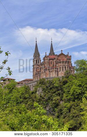 Basilica Of Covadonga In Asturias, Spain. Image Taken On May 6, 2019