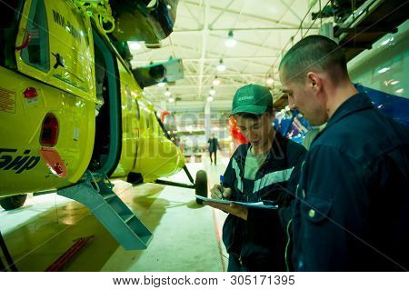 Tyumen, Russia - June 5, 2019: Aircraft Repair Helicopter Utair Engineering Plant. Mi-8 Helicopter D