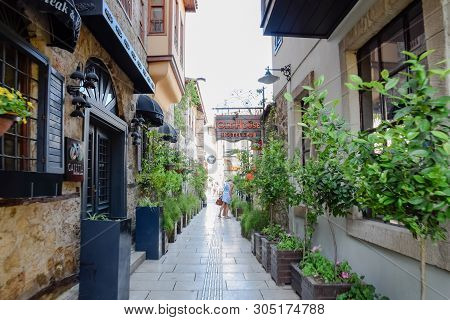 Antalya, Turkey - May 19, 2019: The Streets Of The Old Town Of Kaleici. Ancient District In The City