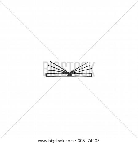 Vector Hand Drawn Icon, Open Book. Publishing, Writing And Copywrite Theme. For Business Identity An