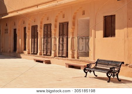 Amer, Jaipur / India - 7th June 2019: Abstract Background Of Ancient, Old Doors & Windows Of Amer Fo