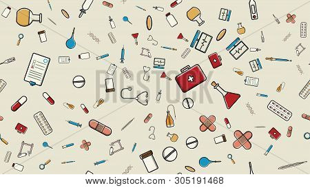 Seamless Pattern Texture Of Medicine Items Icons Pricks Pills Pipettes Stethoscopes Tools Doctor Fla