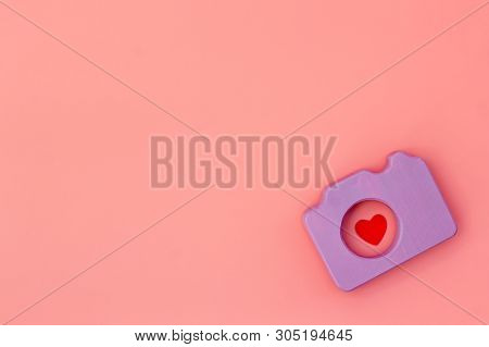 Blogger Concept With Photo Camera On Pink Background Top View Mockup