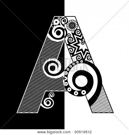 abstract black and white ABC, ornamental letter A poster