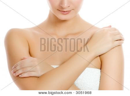 Beautiful Young Woman After Shower. Isolated On White Background