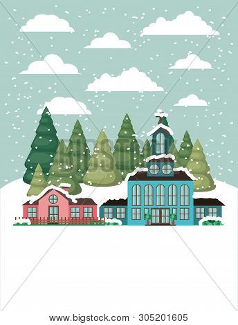 City With Church In Snowscape Vector Illustration Design