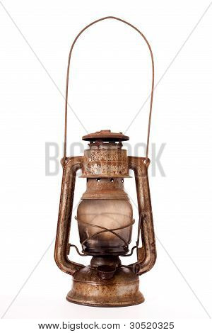 Old Kerosene Lantern Burning With Bright Flame