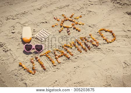 Medical Pills, Inscription Vitamin D Made Of Amber Stones And Accessories For Sunbathing At Beach, C