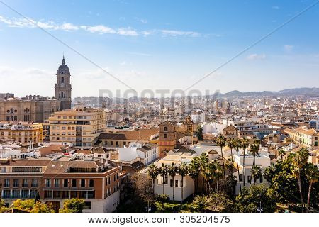 Panoramic Aerial View Of Malaga In A Beautiful Summer Day, Costa Del Sol Spain