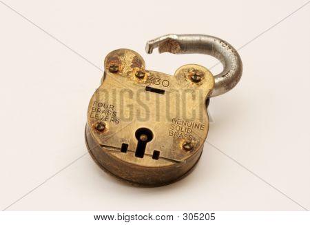 Brass Padlock Open