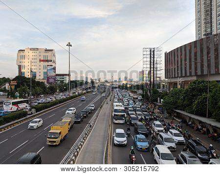 Jakarta, Indonesia - December 20, 2018 : Traffic On Jalan S Parman In Slipi District.