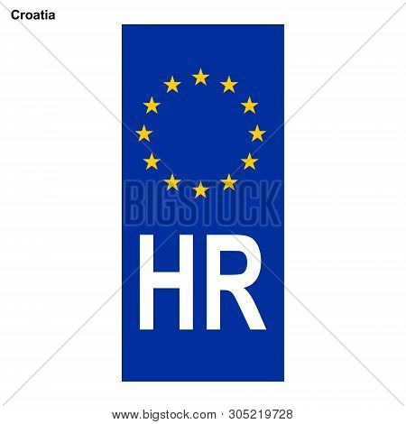 Vehicle Registration Plates Of Croatia. Eu Country Identifier. Blue Band On License Plates