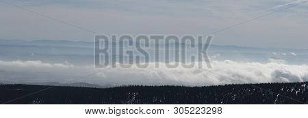 View To Moravskoslezske Beskydy Mountain Range Wtith Highest Lysa Hora Hill From Praded Hill In Jese