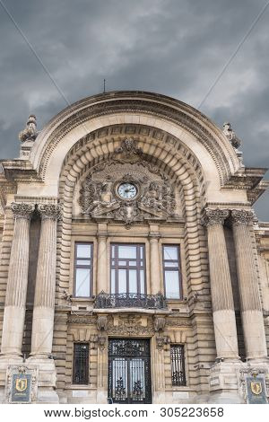 Bucharest, Romania - March 16, 2019: Close Up Detail Of Entrance To The Building Of