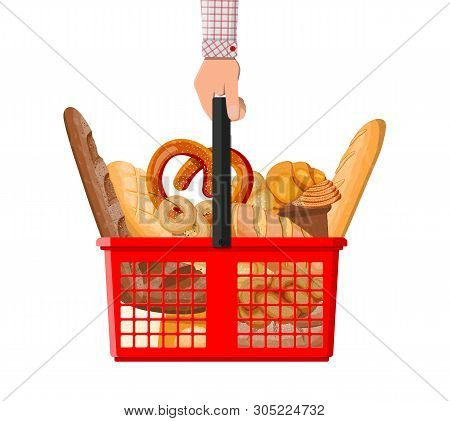 Bread Icons And Shopping Basket In Hand. Whole Grain, Wheat And Rye Bread, Toast, Pretzel, Ciabatta,