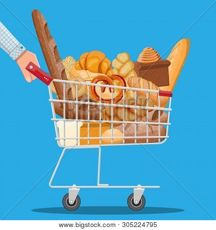 Bread Icons And Shopping Cart. Whole Grain, Wheat And Rye Bread, Toast, Pretzel, Ciabatta, Croissant