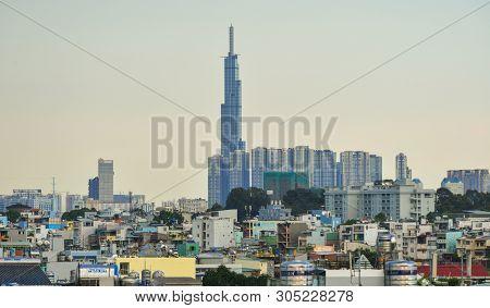 Saigon, Vietnam - Apr 23, 2019. Skyline Of Saigon (ho Chi Minh City) With The Landmark 81 Building.