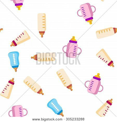 Baby Bottle, Childcare Equipment Linear Icons Seamless Pattern. Baby Bottles with Latex, Silicone Nipples for Feeding Infants. Sippy Cups Thin Line Pictograms. Plastic Containers for Liquid poster