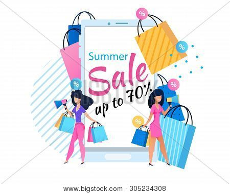 Summer Sales Up To 70 Percent Proposition For Women. Two Pretty Elegant Female Shoppers Announcing T