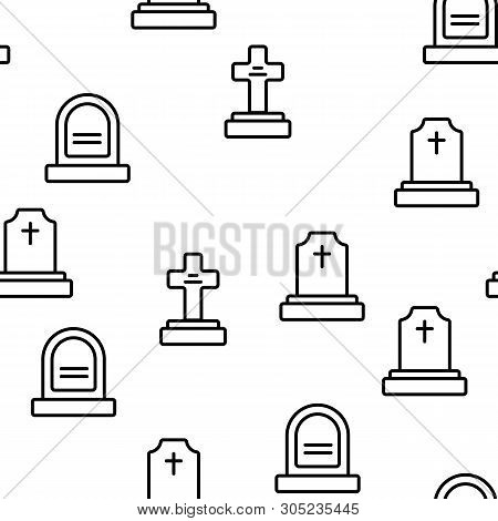 Headstone, Gravestone, Tombstone Color Icons Seamless Pattern. Headstone, Granite Grave, Cross Linea