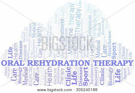 Oral Rehydration Therapy Word Cloud. Wordcloud Made With Text Only.