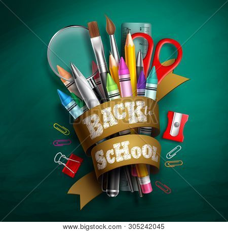 Back To School Vector Design. Back To School Text In Ribbon With Colorful School Supplies And Elemen