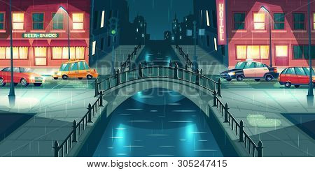 Rain On Night Town Street Cartoon Vector. Police And Taxi Cars Going On City Road Illuminated With L