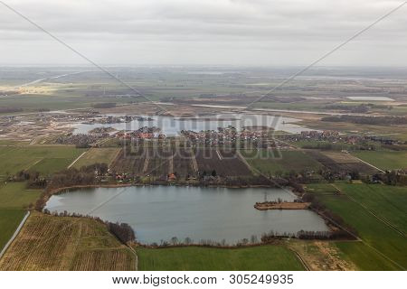 Aerial View Lake With Construction Site New Residential Area Meerstad At Woldmeer Near City Groninge
