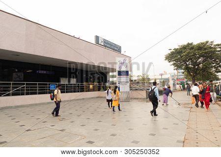 Bangalore, Karnataka, India June 02, 2019: People Outside The Kempegowda Metro Station Majestic Beng